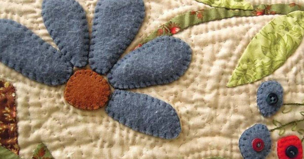 blue flowers on a quilt