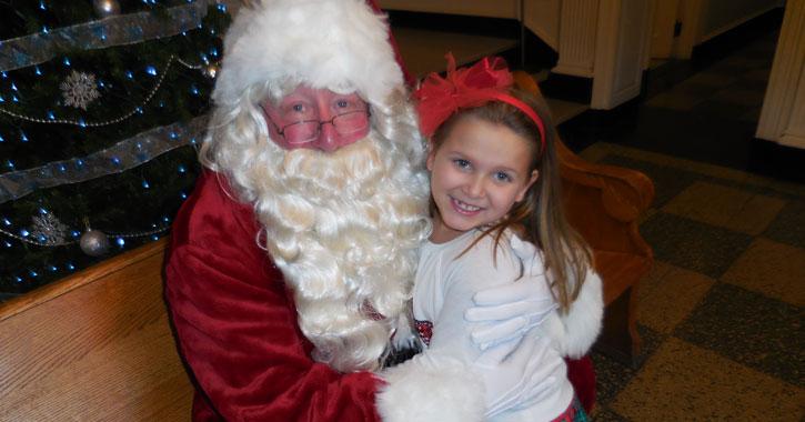 santa and a young girl