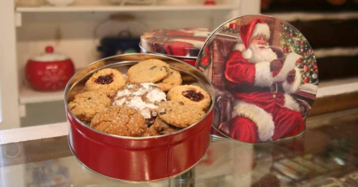 christmas cookies in a tin from santa's workshop