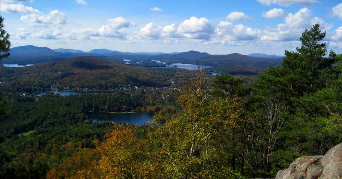 lakes as seen from the top of baker mountain near saranac lake