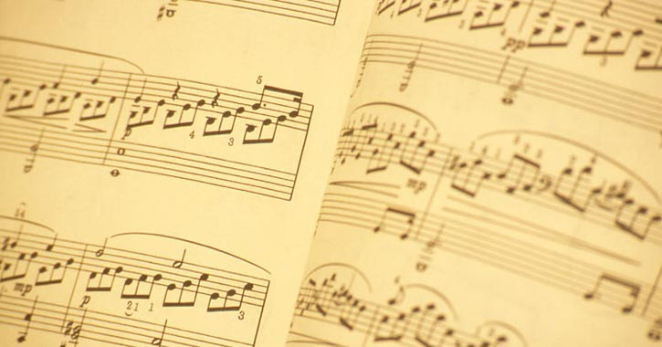 sheet music on paper