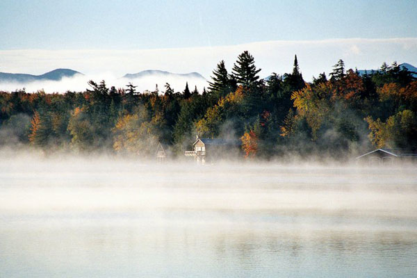 Fog over Lake Placid in early fall