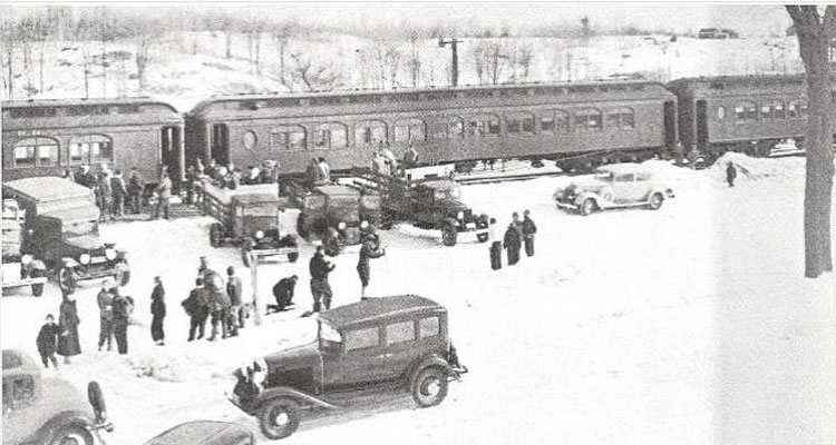 snow trains at the ski bowl in the past