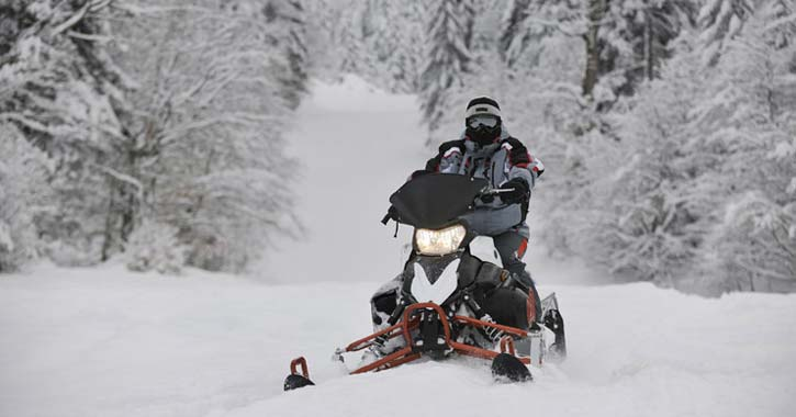 snowmobiler in woods