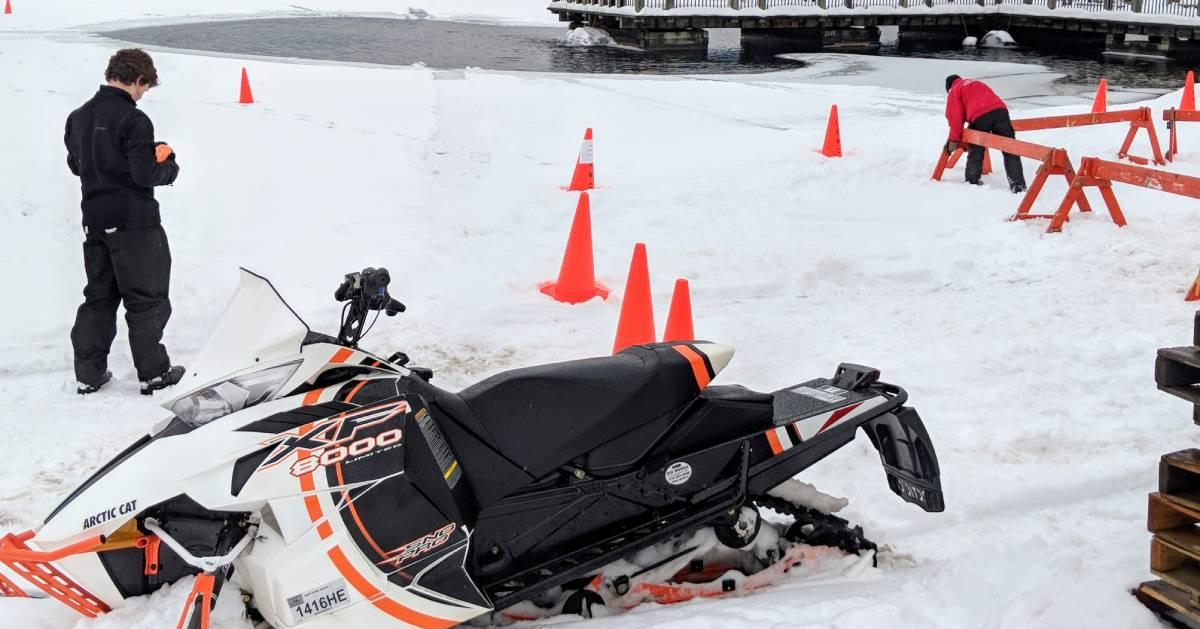 snowmobiler on ice