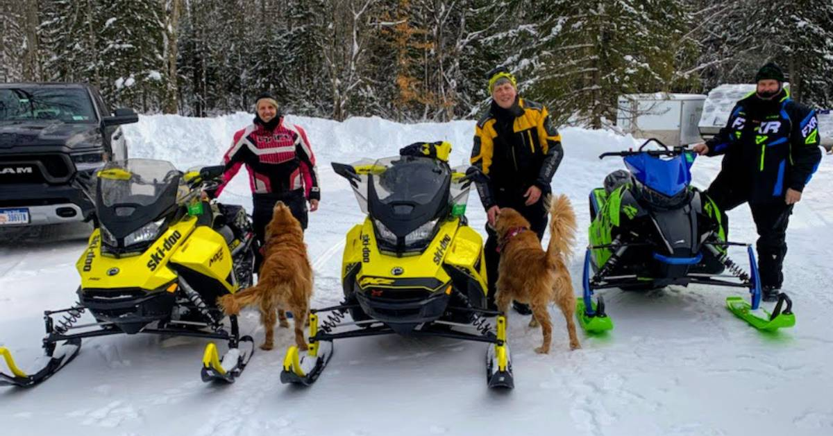three snowmobilers posing with two dogs