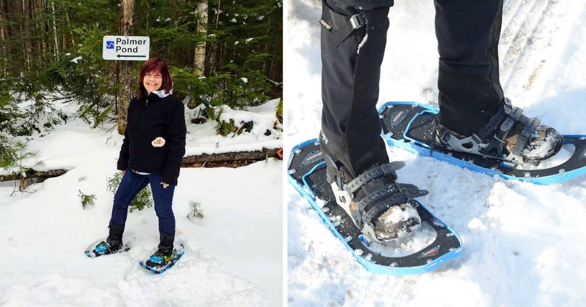split image of woman on snowshoe on left and closeup of snowshoes on right