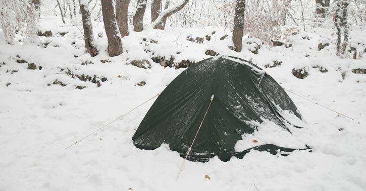 a snowy campsite