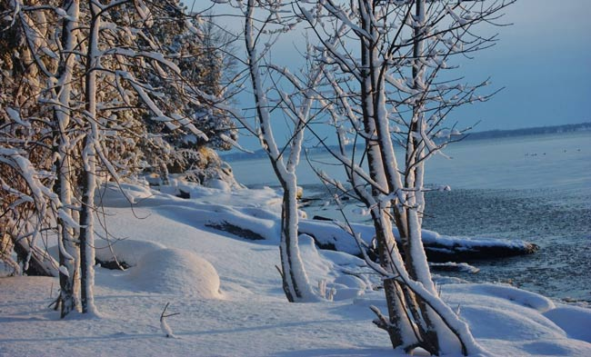 Snow at Lake Champlain