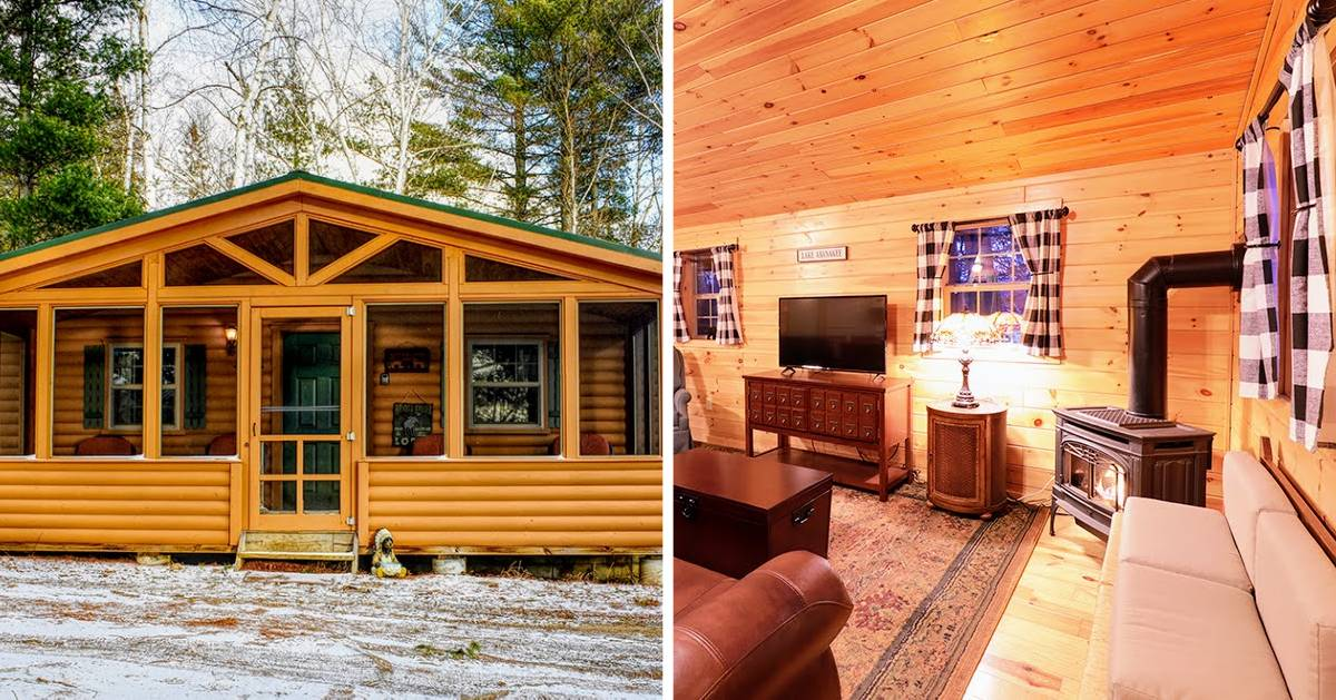 split image with cabin on left and inside of cabin on the right