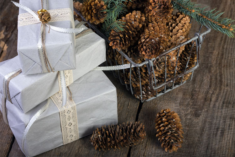 pinecones and wrapped boxes