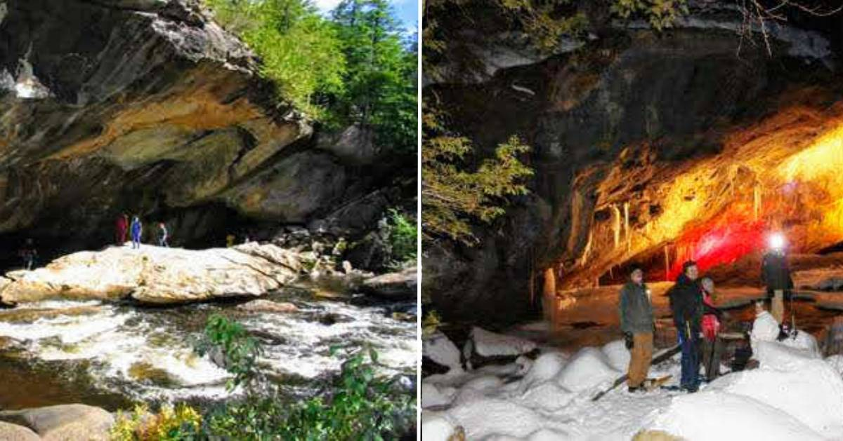 split image of the caves with summer on the left and winter on the right