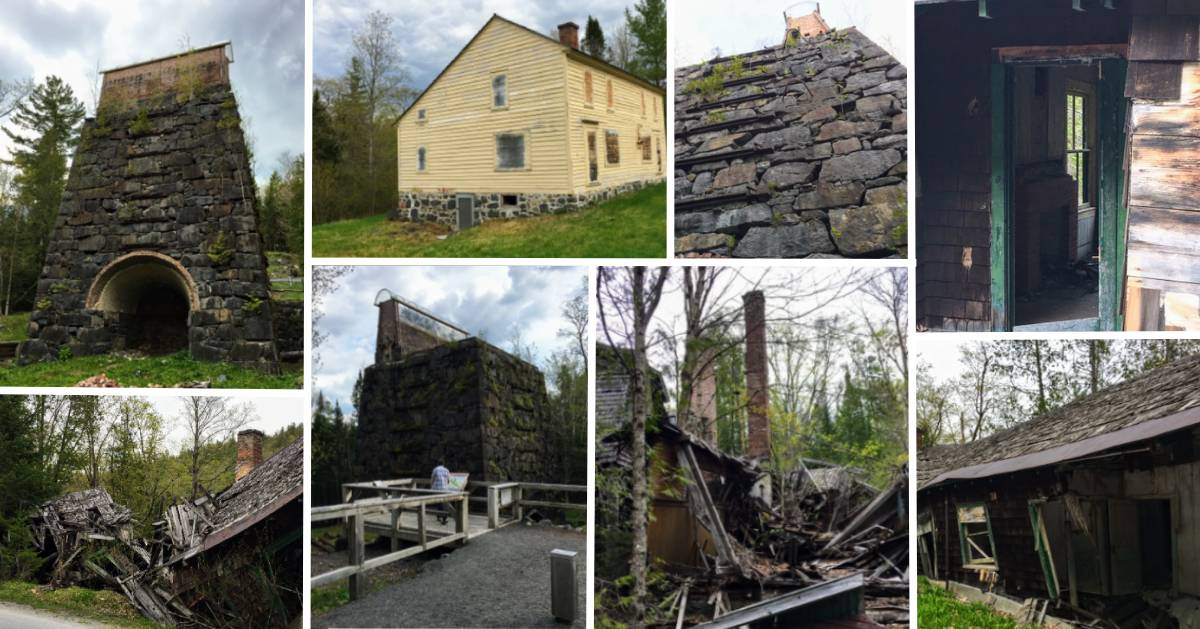 collage of old, decrepit buildings