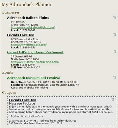 Screenshot of an Adirondack.net Trip Planner itinerary