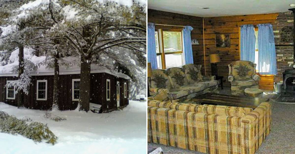 split image with cabin in winter on the left and living room on the right
