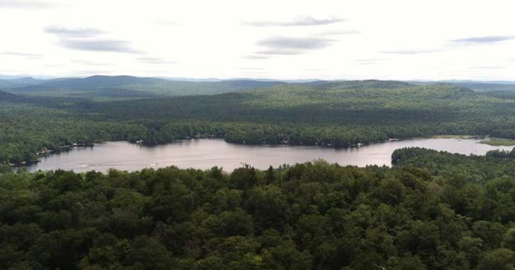 view of lakes from mountain summit