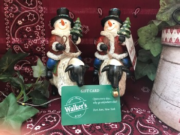 snowman figurines with a gift card