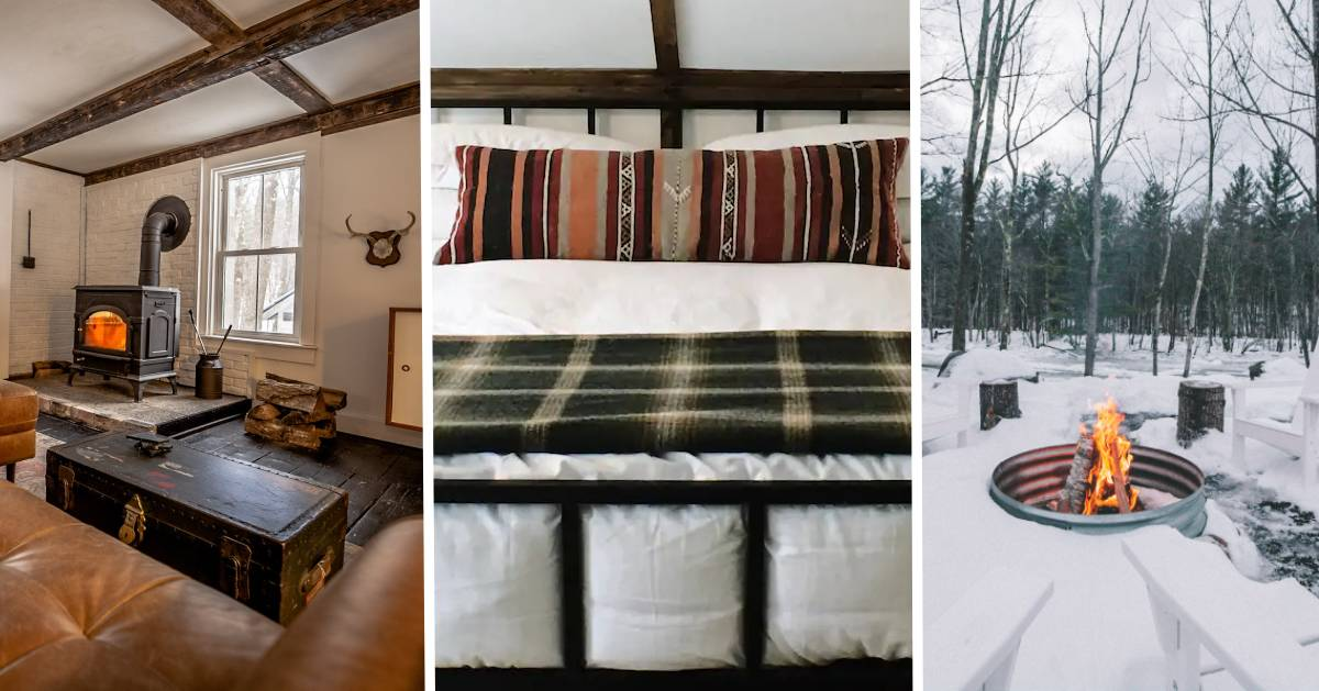 image split in three with living room, bed, and outdoor fire in winter