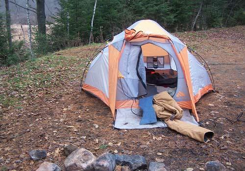 tent near sacandaga river