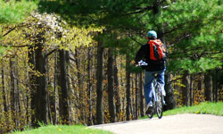 biking on trail