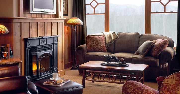 furniture near a fireplace
