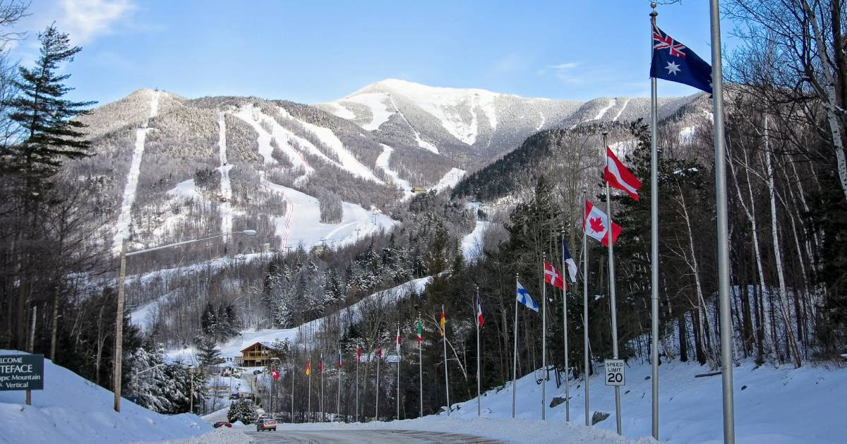 Whiteface Mountain with Olympic flags
