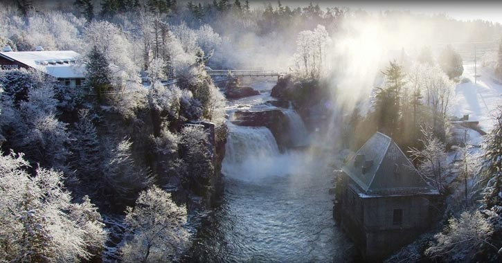 winter view of ausable chasm covered in snow