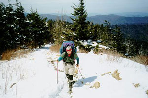 hiker with winter clothes