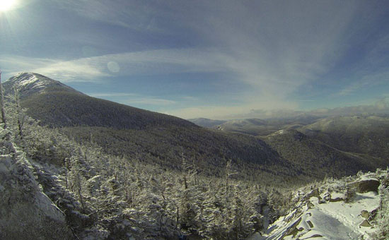 view of winter landscape from Adirondack peak