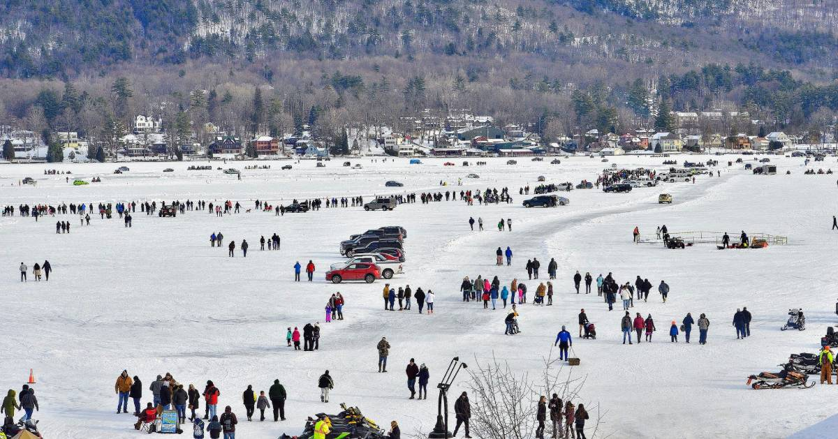 somewhat aerial view of winter carnival on ice