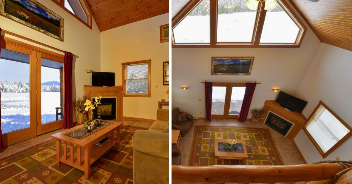 split image with living room and winter view on left and great room on right