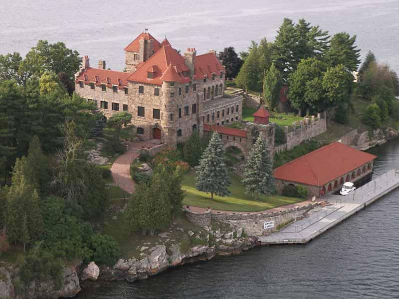 Aerial view of Singer Castle on Dark Island