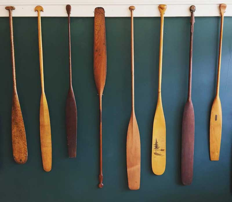 Paddles from a personal collection on display at TAUNY