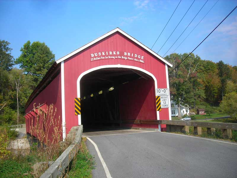 Buskirk Bridge, a covered bridge cross thing Hoosic River in Cambridge NY