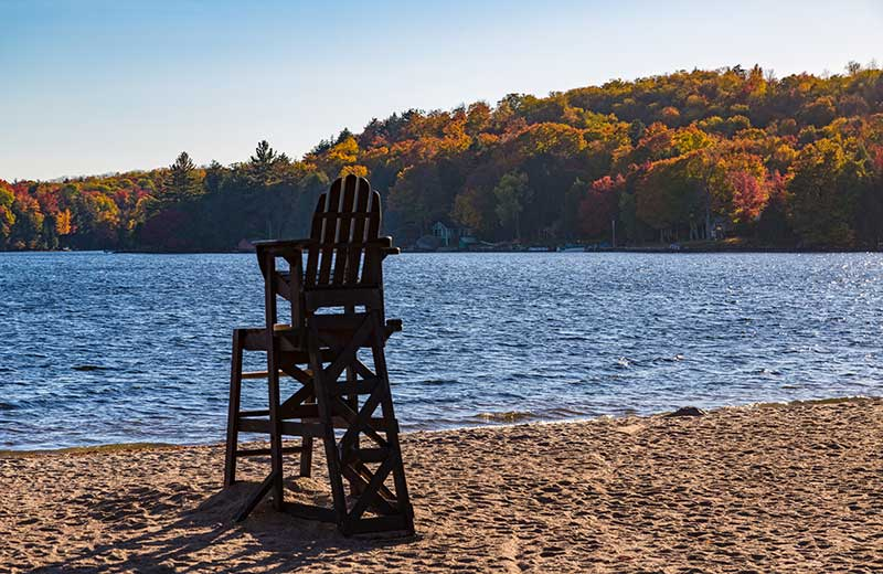 Cranberry Lake Beach in fall