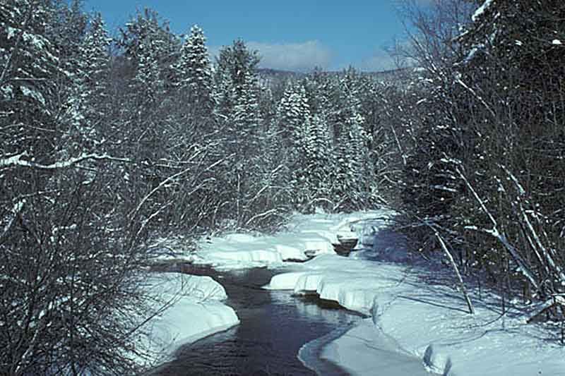 Snow covered creek in Minerva NY