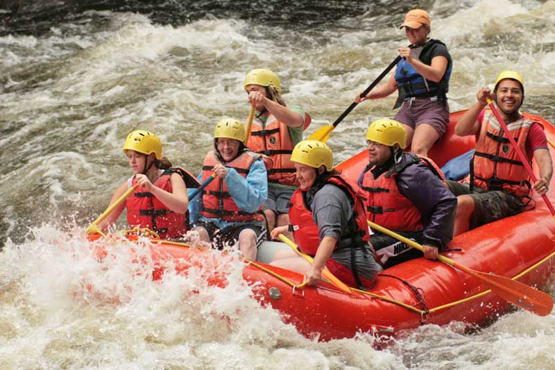 Whitewater rafting boat on the Hudson River in North River NY