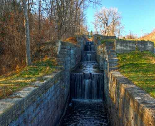 View from the base of the Five Combines Locks near Kingsbury NY