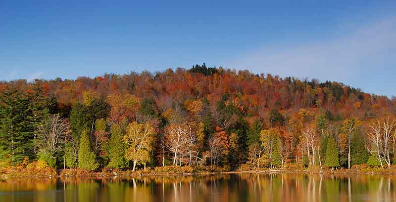 Fall foliage reflecting on Lake Clear in the Adirondacks