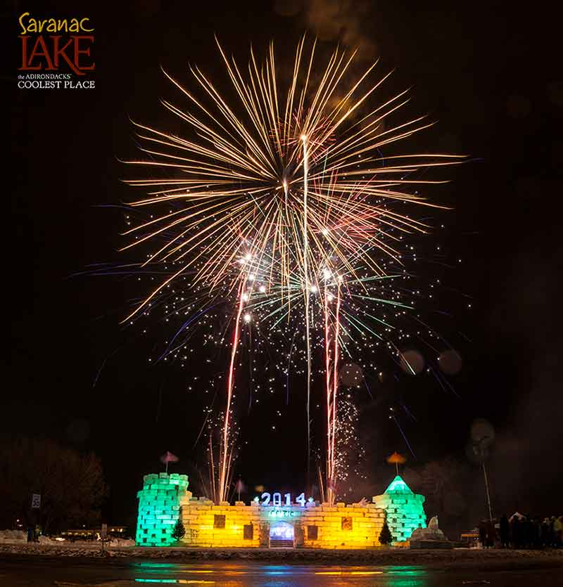 Winter Carnival Fireworks of the Saranac Lake Ice Palace