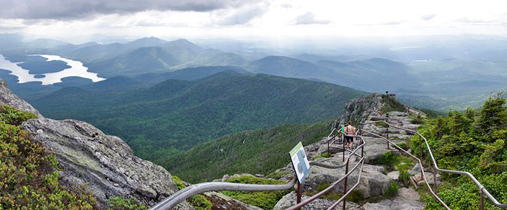 View of lake and high peak mountains from Whiteface summit.