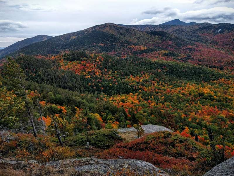 Adirondack mountains with fall foliage