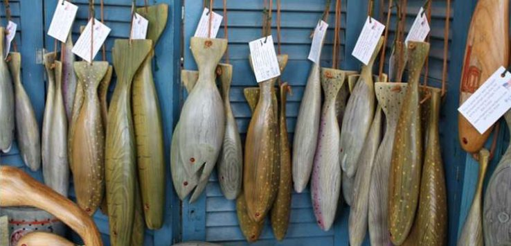some wooden fish ornaments