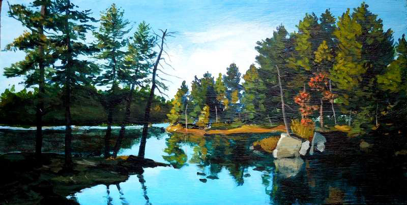 painting of lake and trees
