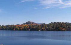 lake placid fall foliage view near water