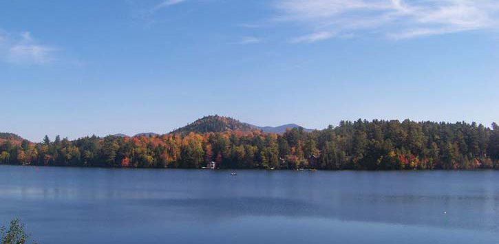 lake placid fall foliage view near water
