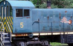 an old blue train car