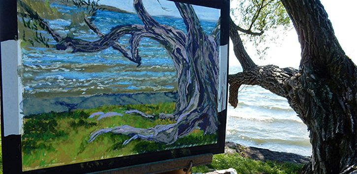 tree painting near a real tree