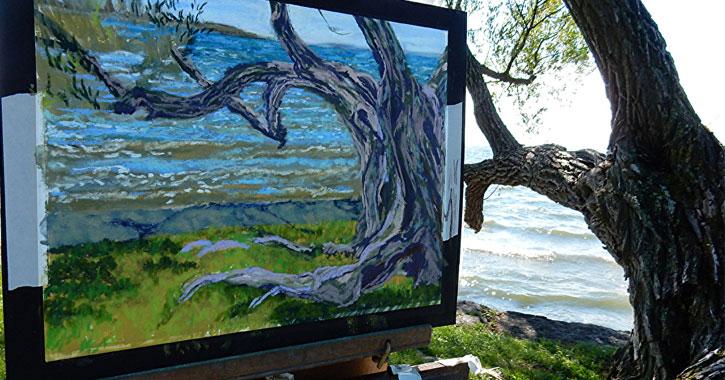 tree painting near a real tree