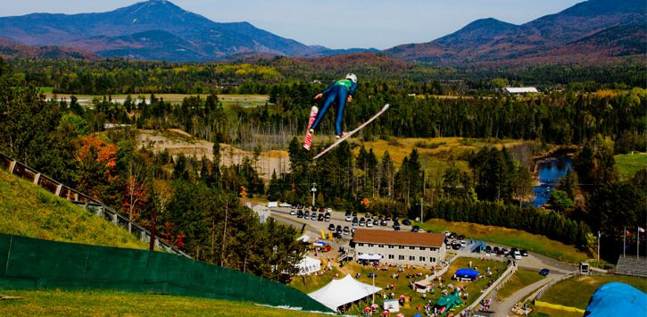 ski jumper on jumps in fall